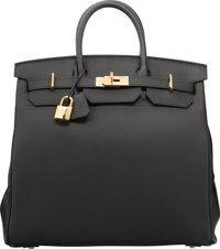Hermes 40cm Black Togo Leather HAC Birkin Bag with Gold Hardware T, 2015 Pristine Condition</