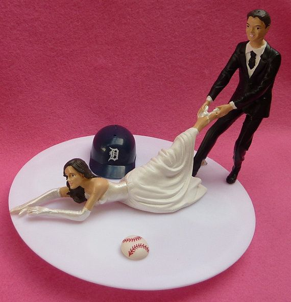 Wedding Cake Topper Detroit Tigers G Baseball Themed w/ by WedSet, $59.99