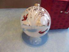FIGI Inside Art  Blown Glass Cardinals & Winter Trees  Christmas Ornament