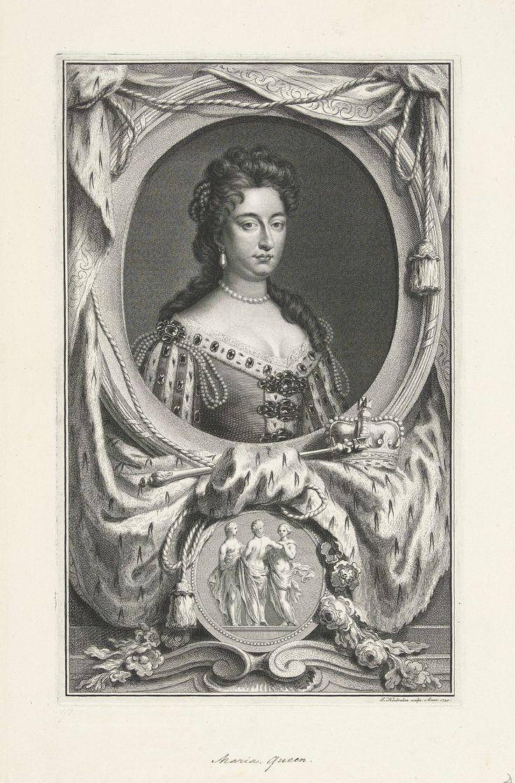 Jacob Houbraken   Portret van Maria II Stuart, koningin van Engeland en Schotland, Jacob Houbraken, Gottfried Kneller, 1744   Portret van de Maria II Stuart, koningin van Engeland en Schotland. Onder het portret een koningsmantel en een kroon en scepter. Daaronder een medaillon met de drie Gratiën.