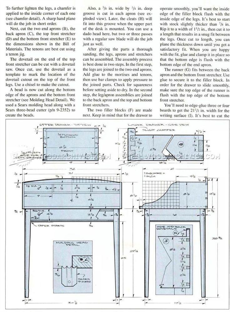 #2658 Writing Desk Plans - Furniture Plans