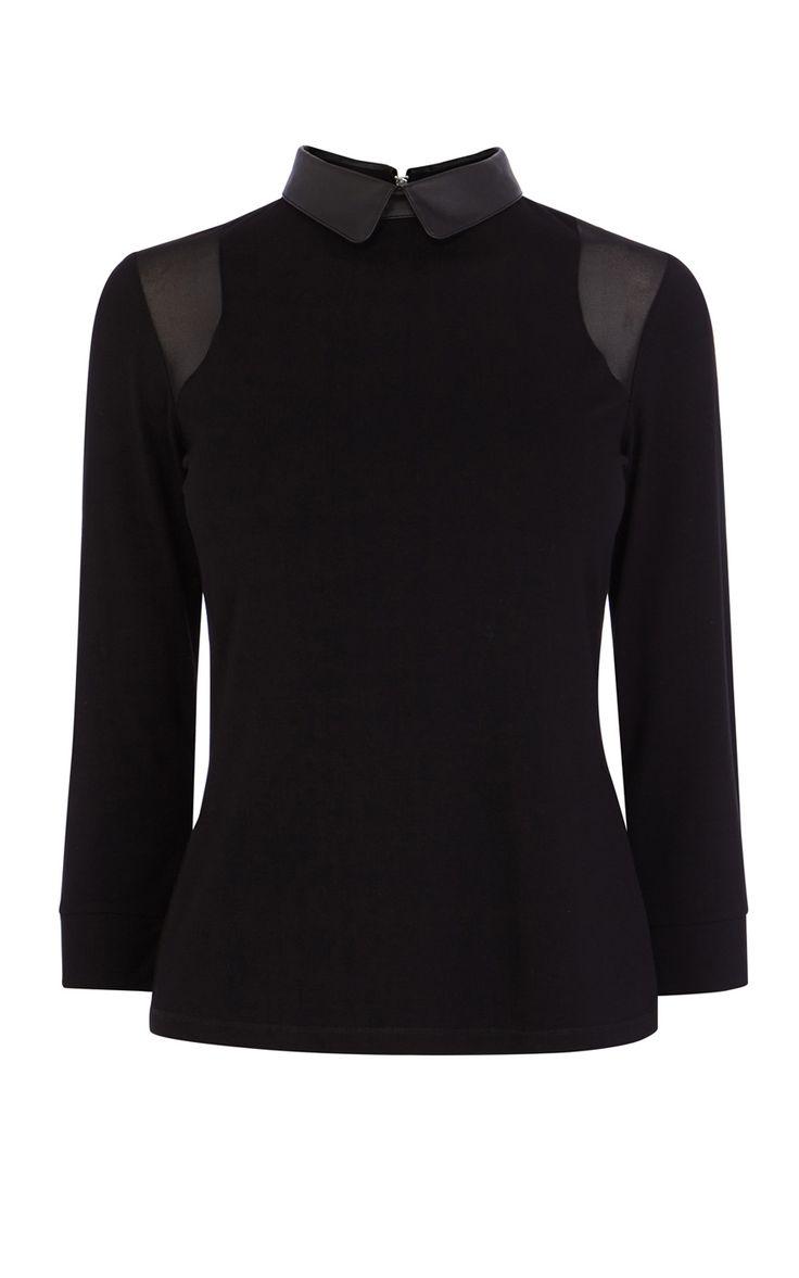 Working Wardrobe | FAUX LEATHER COLLAR TOP | Karen Millen