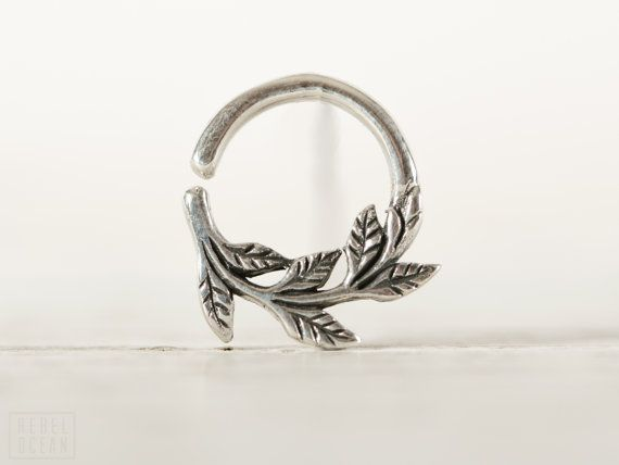 Leaves Septum Ring Nose Ring Body Jewelry Sterling Silver Bohemian Fashion Indian Style 14g 16g - SE036R SS