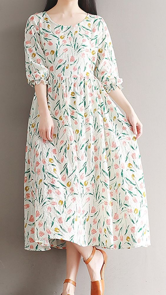 Women loose fitting over plus size retro flower dress long maxi tunic skirt chic #Unbranded #dress #Casual