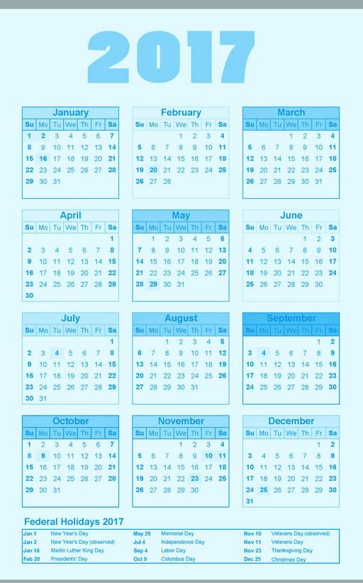 2017 yearly calendar template