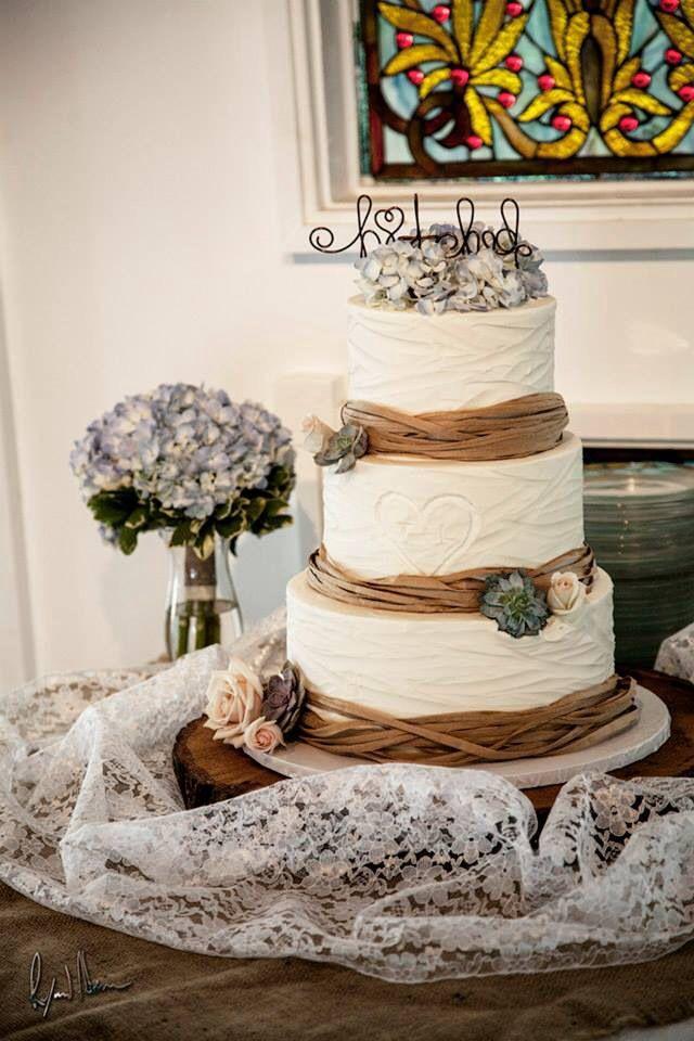 Wedding Cake Peach Ribbon And Initials