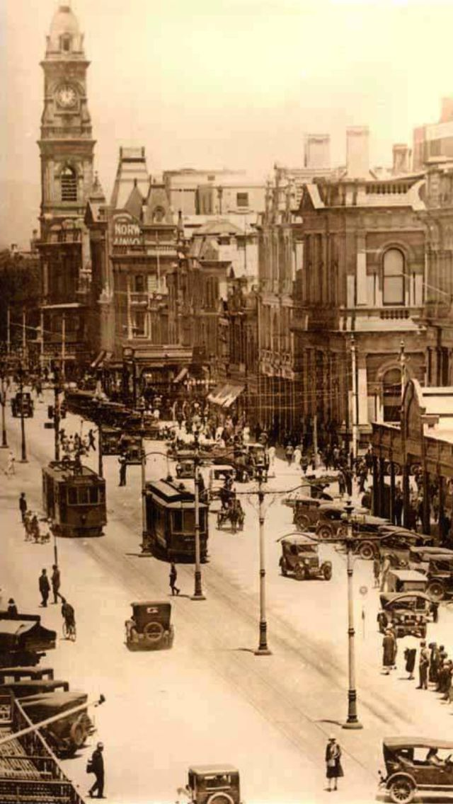 Adelaide South Australia  - Vintage photo of King William Street - A number of these buildings are still there today