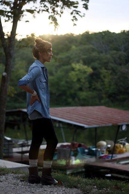chambray shirt, leggings, hiking boots, topknot