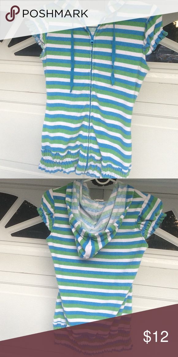 Short sleeve zip up hoodie💕🌸🦋 Zip up short sleeve hoodie with vibrant colors of blue and green white super cute on!!!!!💕 Tops Sweatshirts & Hoodies
