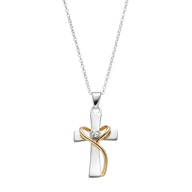 Primrose Two Tone Sterling Silver Cubic Zirconia Cross Pendant, Women's, Grey