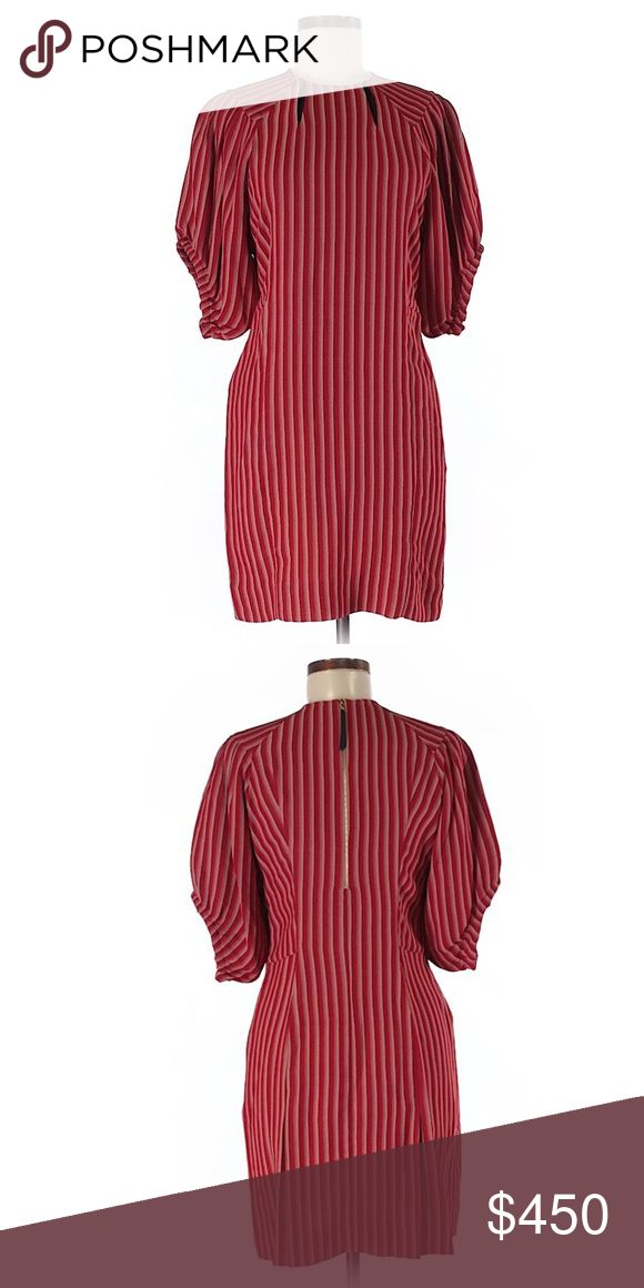 """Marni Dress...Sz: 42 (IT)/ 6 (US)...Red...$825 Description: A-Line silhouette Short Crew neckline Short sleeves Red Striped print  Measurements: Size 42 (IT) 30"""" Chest, 34"""" Length Size 42 (IT) is equivalent to US Size 6.  Materials: 41% Acetate, 39% Viscose, 16% Wool, 4% Polyamide  Condition: This item is in excellent condition. You might mistake it for brand new! Marni Dresses"""