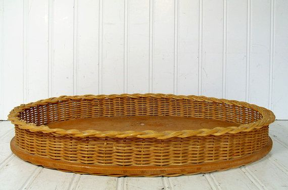 Vintage Natural Wicker Woven Oval Tray