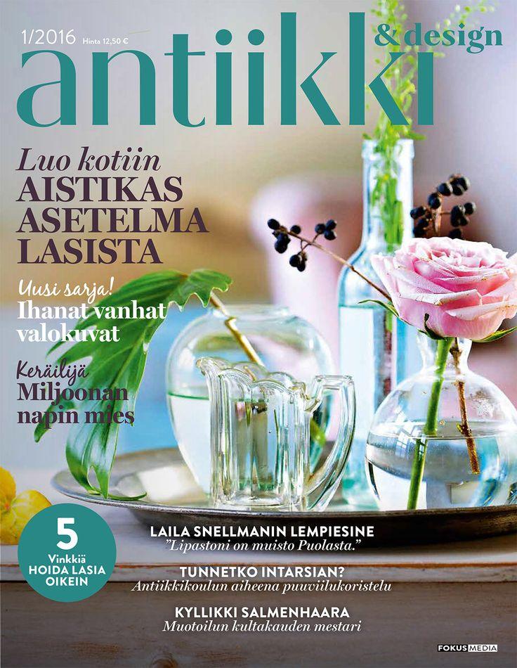 Antiikki & Design 1/2016 kansi. Magazine Cover. Photo Pia Inberg, style Irene Wichmann.