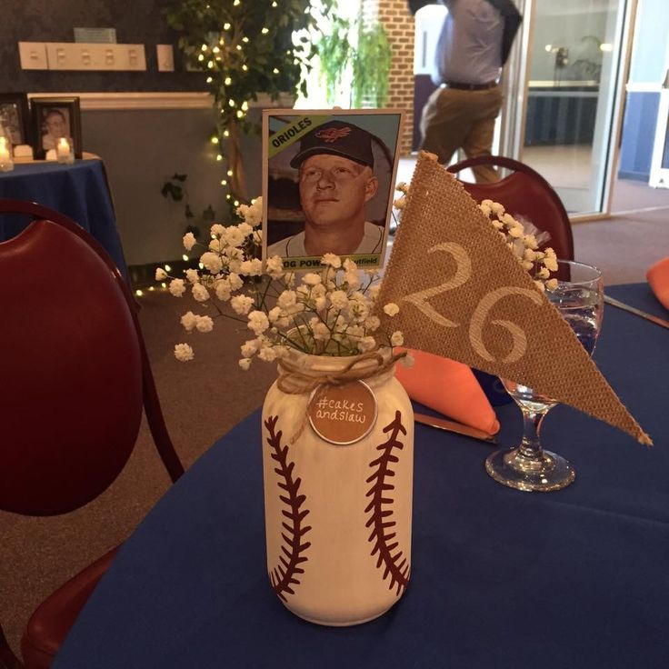 Oriole baseball table centerpieces                                                                                                                                                                                 More
