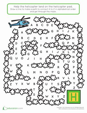 Preschool The Alphabet Mazes Worksheets: Helicopter Maze