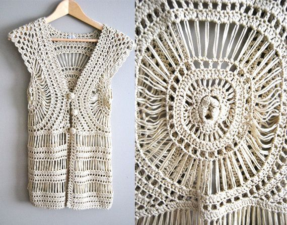 The Abby Top Vintage 60s 70s Crochet Lace Boho by WinstonVintage
