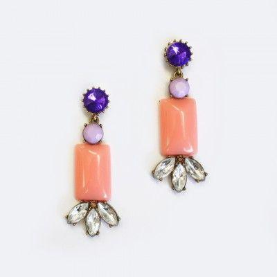 Redcurrent Pink Rectangle Drop Gem Earrings