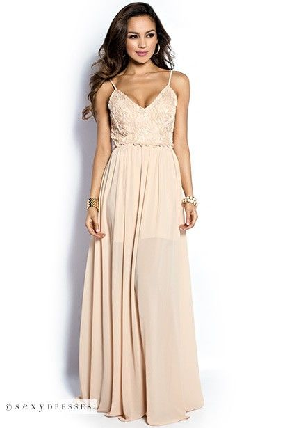 """Juliet"" Nude Embellished Bodice Strappy Maxi Dress Gown"