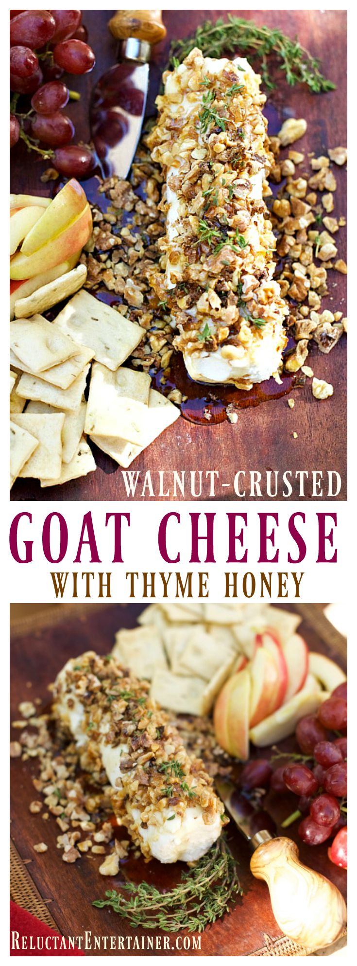 Walnut-Crusted Goat Cheese with Thyme Honey is an elegant appetizer to serve at…