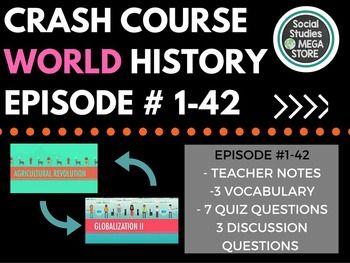 """Crash Course  World History Ep. 1-42 Bundle""""Top notch work! I use Crash Course all the time in my AP and CP World History classes and his work on this is right on point! Well worth the purchase!"""" Each person who purchases this bundle will receive a free google drive link to all the videos already downloaded and ready to go."""