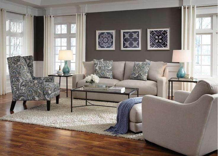 Franklin Furniture   Haven Stationary 2 Piece Chair And Matching Ottoman  Set In Soft Taupe