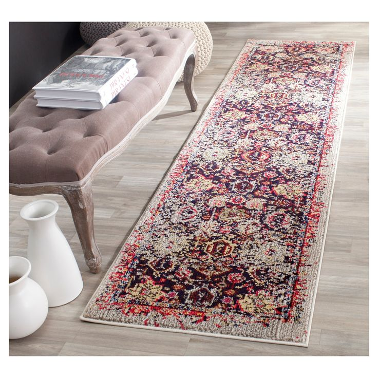 Show off your unique style with the Safavieh Farrah Rug - Grey/Multi. This polypropylene rug has a vintage-inspired floral geometric pattern in shades of royal blue, red, gray and ivory, which is set against an antique-finish, light gray background for an authentic look. Designed for durability, this low pile rug has no backing and a sturdy, tightly woven construction. This patterned rug is available in multiple sizes so it can be customized to various spaces in your house.