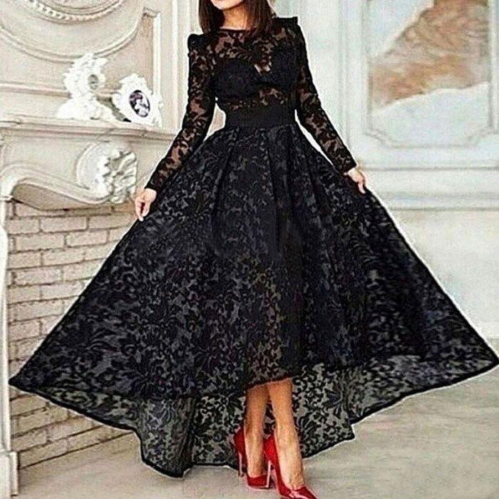 Kleid mit spitze schwarz lang