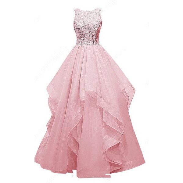 Pink Ball Gown Scoop Neck Organza Sleeveless Beading Long Prom Dress ($179) ❤ liked on Polyvore featuring dresses, gowns, long dresses, long pink dress, long gown, pink evening gowns and pink ball gown