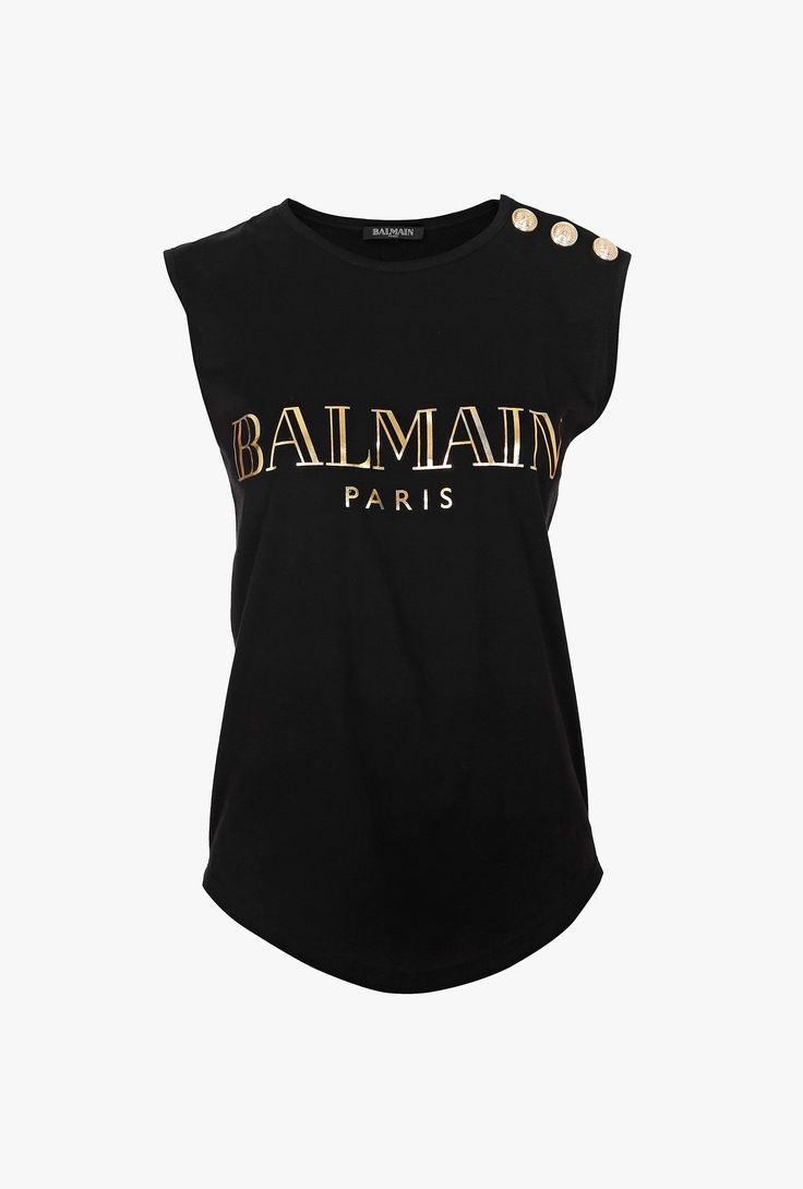 balmain sleeveless gold tone silkscreen logo cotton t shirt women 39 s tops fashion. Black Bedroom Furniture Sets. Home Design Ideas