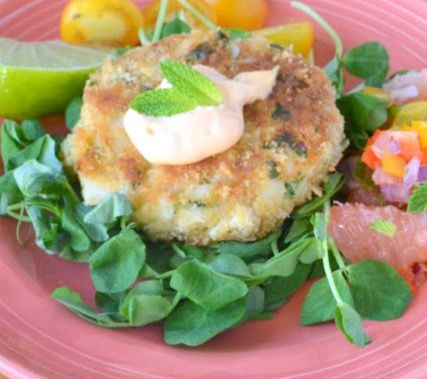 Crispy Atlantic Cod Cakes with Ruby Red Salsa - Recipe, Healthy Cooking, Seafood, Beautiful, Moist, Main Dish