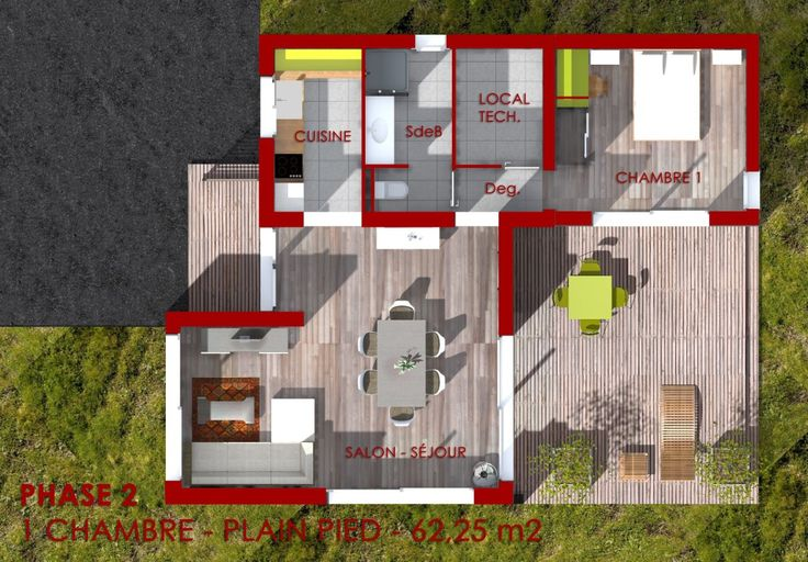 Plan d 39 une maison modulaire de plain pied avec une surface habitable de 6 - Plan de maison modulaire ...
