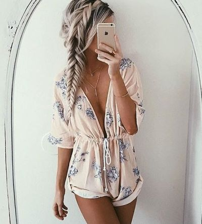 Great color! I love this romper but, maybe just not quite as plunging.