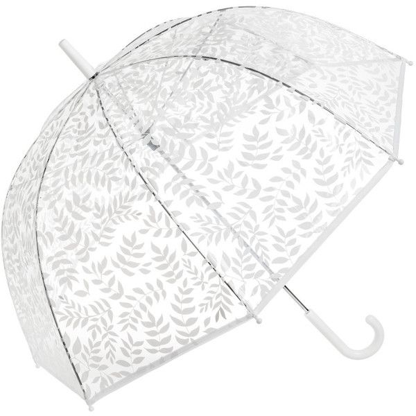 Umbrella $12.99 (€11) ❤ liked on Polyvore featuring accessories, umbrellas, see through umbrella, transparent umbrella, white umbrella, striped umbrella and print umbrella