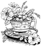 P1175 Tea Cup With Flowers