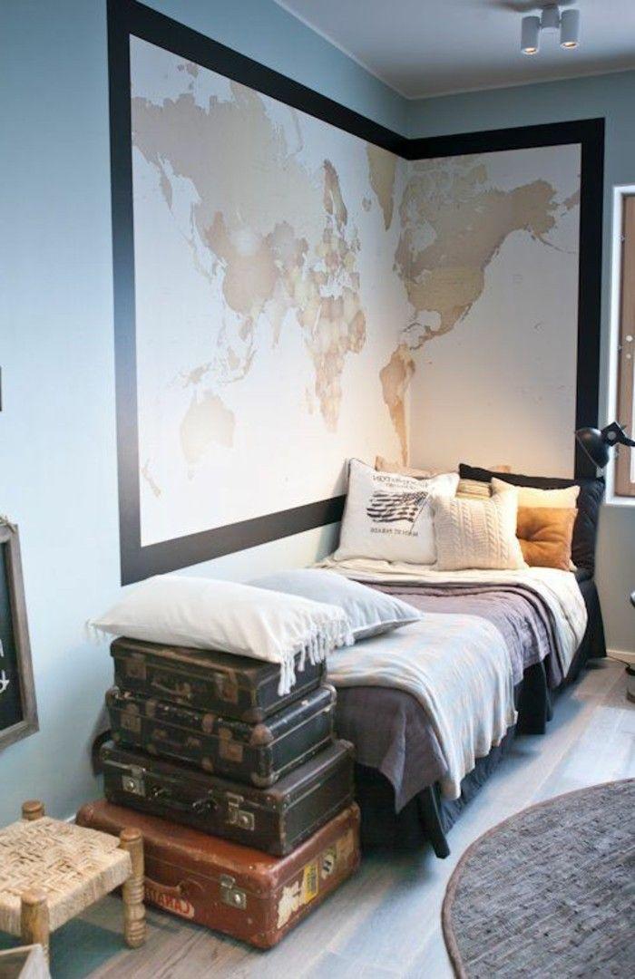 chambre d'ado garcon, tapis rond en gris, murs en bleu clair