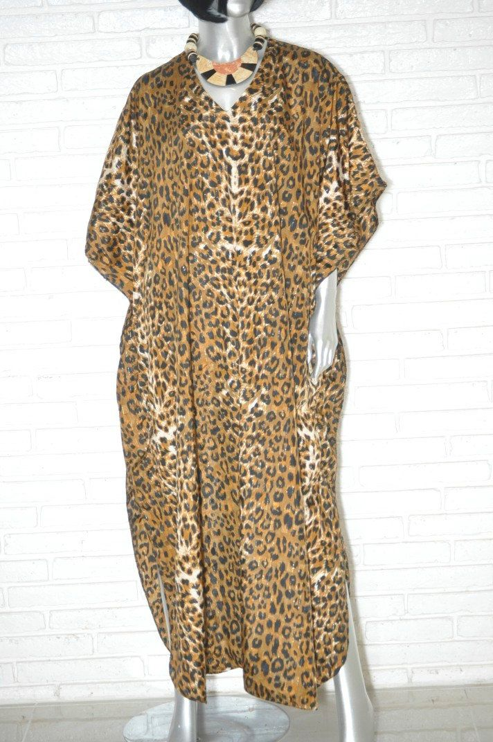 Vintage Leopard Print OSFA Kaftan Muumuu Dress Full Length Bohemian Gypsy Dress One Size Fits All Night Gown Loungewear Cover Up by TheUnapologeticSoul on Etsy #kaftan #vintagedress #leopardprint #animalprint #muumuu #boho #OSFA #loungewear #70sstyle
