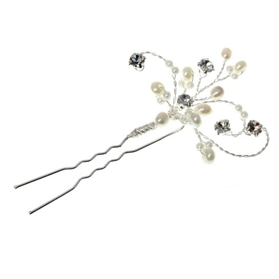 Pale Ivory Pearl & Clear Diamante Bridal Hairpin
