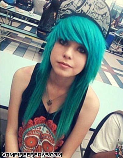 blue emo hair.  Looks soooo good.
