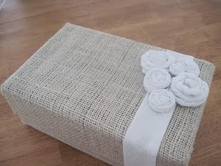 Burlap covered shoe box. Love this blog!