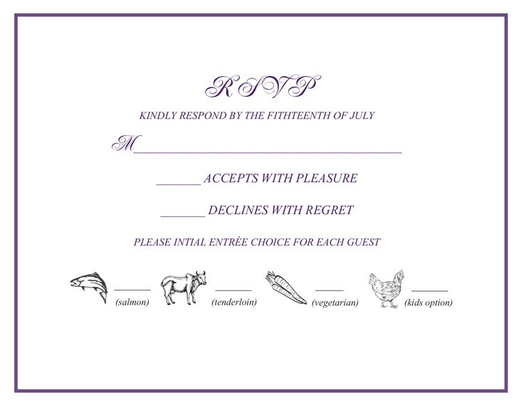 Wedding Rsvp Invitation Wording: Wedding Rsvp W/ Menu Selections