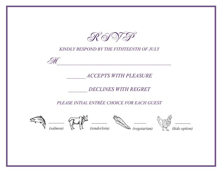 Rsvp Wedding Invitation Wording: Wedding Rsvp W/ Menu Selections