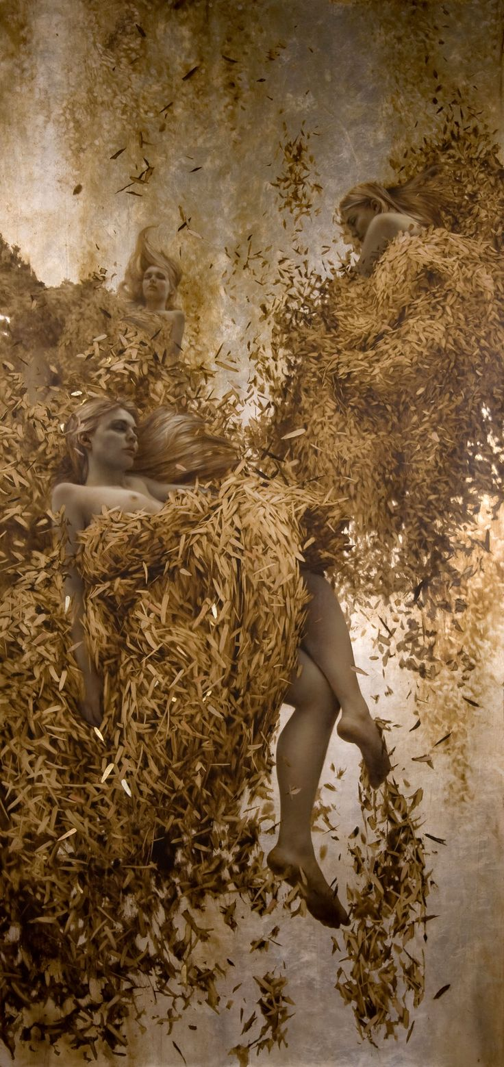 Brad Kunkle - Trinity, 80 x 36 inches, Oil and gold and silver on linen