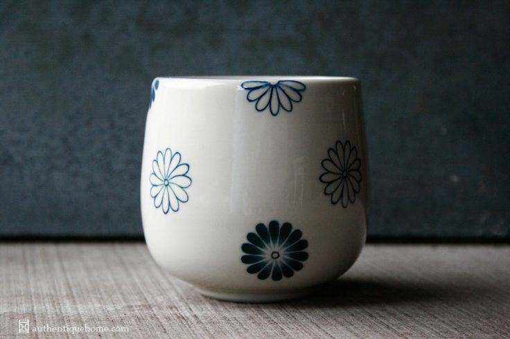 #BatTrang #teacup #Authentique #Home - The #colour between #ocean #blue and #indigo. All our #ceramics #patterns are #handpainted.