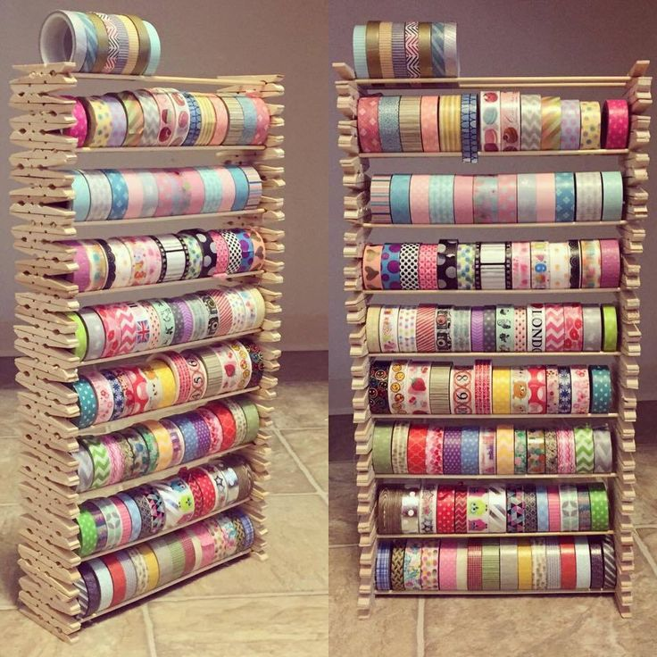 Creative way to store your washi. This craft uses stacked clothespins holding wooden sticks to hold up washi tape. You can get all the materials anywhere that sells craft items. Make sure to use wood glue to help this stick together better                                                                                                                                                                                 Mehr