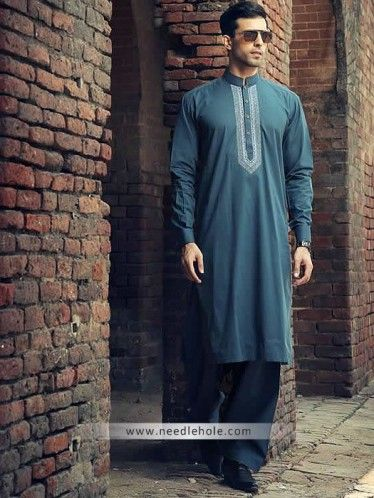 Embroidered #kurta shalwar suit for men in Pine green. buttoned #cuffs embroidered front kurta with matching shalwar http://www.needlehole.com/embroidered-kurta-shalwar-suit-for-men-in-pine-green.html Embroidered kurta shalwar suits collection by bonanza. Pakistani #shalwar kameez designs and indian kurta shalwar for men by bonanza stores in usa, uk, saudi arabia