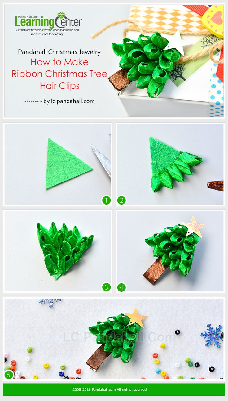 How to make ribbon christmas tree - Pandahall Christmas Jewelry How To Make Ribbon Christmas Tree Hair Clips From Lc Pandahall