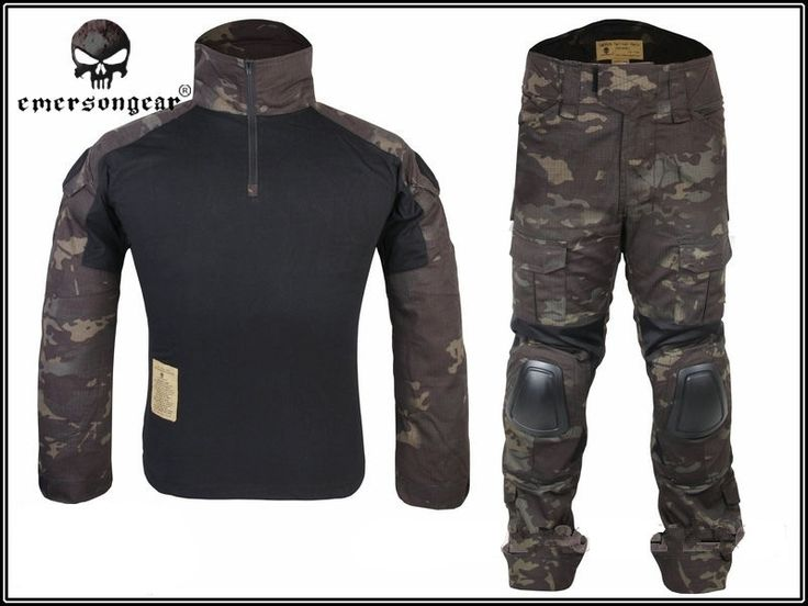115.84$  Watch now - http://alic6s.worldwells.pw/go.php?t=32710809035 - Tactical Military Uniform Clothing Army Camping Combat Jersey Shirt +Pants With Knee Pads Camouflage Hunting Coat Clothes? 115.84$