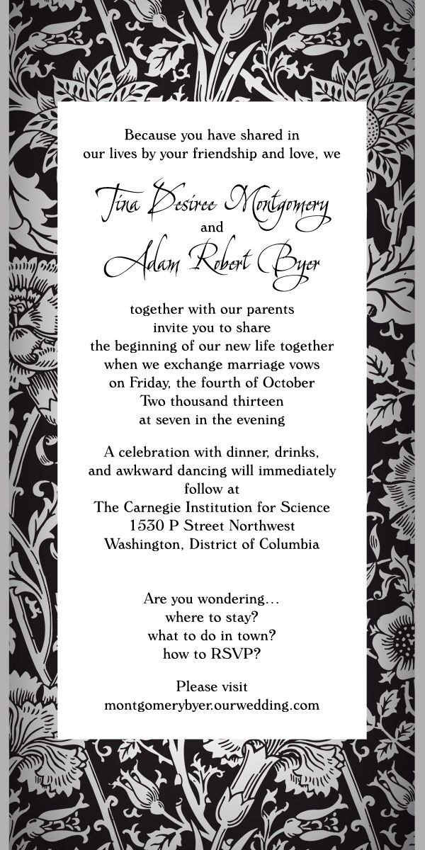 Fun Non Traditional Wedding Invitation Wording! No RSVP Card Needed Because  Letu0027s Face It No