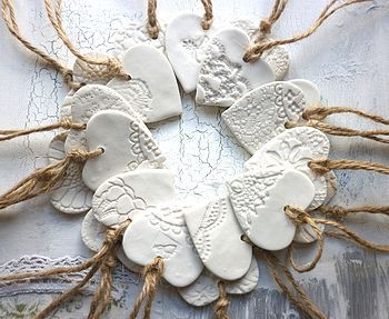Four Handmade Porcelain Heart Decorations
