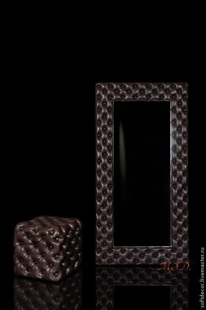 Пуф и зеркало КАПИТОНЕ цвета темного шоколада - коричневый,пуф,капитоне